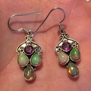 Vintage 925 Silver Fire opal amethyst wire earring